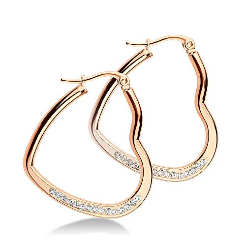 - 555Jewelry Womens Stainless Steel CZ Hypoallergenic Comfort Elegant Gift Jewelry Accessory Lightweight Hinged Durable Heart Shape Love Dressy Classic Large Hoop Fashion Earrings, Pink Rose Gold