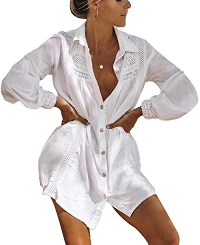 Lightweight Cover Up - BUTTZO Women Long Sleeve Swimsuit Cover Up Mini Beach Dress (White I, One Size)