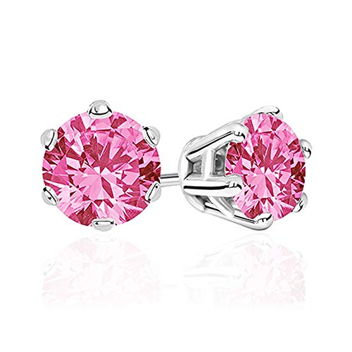 DOMEI Sterling Silver Stud Earrings Cubic Zirconia, Hypoallergenic Diamond Stud Earrings, Cubic Zirconia Earrings Studs for Women(Pink)