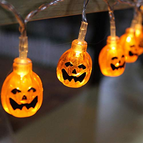 KAZOKU Halloween String Lights, 13.8 Feet 40 LED 3D Jack-O-Lantern Pumpkin Lights, Battery Operated LED Fairy String Lights,Halloween Decorations for Indoor Outdoor,Warm White