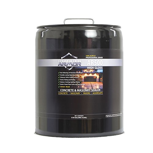5 GAL Armor AR500 High Gloss Solvent Based Acrylic Concrete Sealer and Paver Sealer (Patio Sealing Paver)