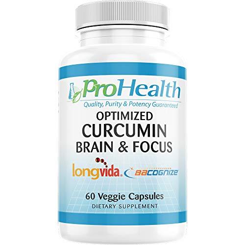 Brain & Focus - Optimized Curcumin Longvida with BaCognize Bacopa Monnieri by ProHealth (60 Veggie Capsules)