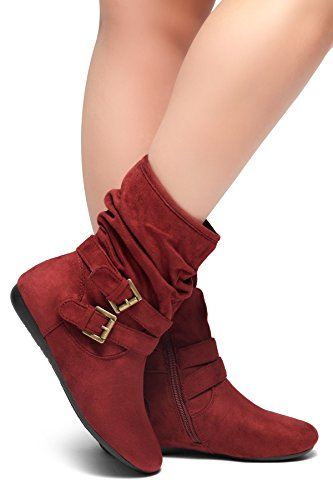 Herstyle Women's Lindell Slouch Ankle Boots Burgundy 10.0 by Herstyle