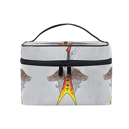 Angel Wing Guitar Women Makeup Bag Travel Cosmetic Bags Toiletry Train Case Beauty Pouch Organizer