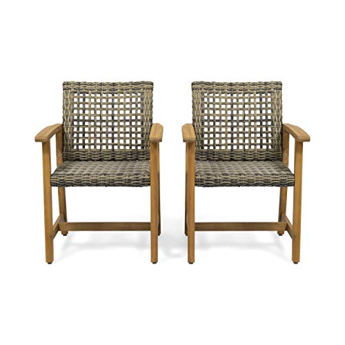 Clementine Outdoor Acacia Wood and Wicker Dining Chair (Set of 2), Natural and Gray