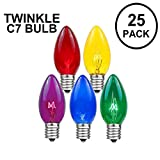 Novelty Lights 25 Pack C7 Twinkle Outdoor String Light Christmas Replacement Bulbs, Multi, C7/E12 Candelabra Base, 7 Watt