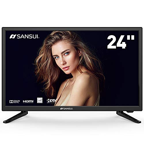 SANSUI LED TV 24'' 1080p HD 60Hz Ultra Slim Flat Electronics Television High Definition and Widescreen Monitor HDTV with HDMI PCA Input and USB (2018 Model) (24-Inch 1080p)