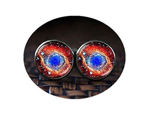Galaxy cufflinks, Universe cufflinks, Violet Space cufflinks, Red Nebula cuff links,Dome glass jewelry, handmade