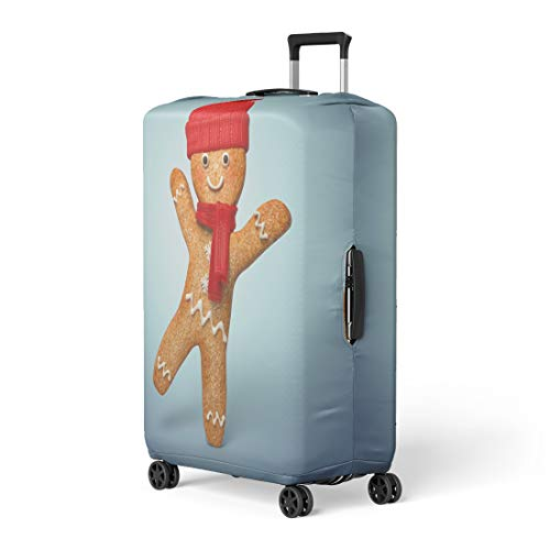 Pinbeam Luggage Cover Active Gingerbread Man 3D Cookie Cartoon Character Wearing Travel Suitcase Cover Protector Baggage Case Fits 26-28 inches