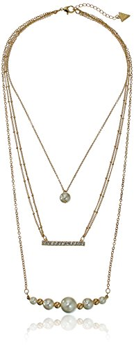 Guess Row Pearl Chain Necklace