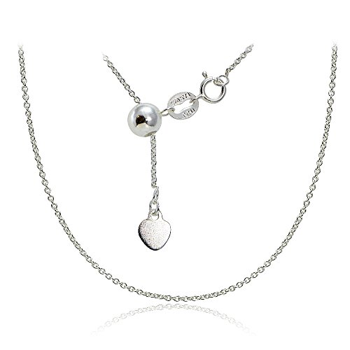 Hoops & Loops Sterling Silver 1.5mm Rolo Adjustable Chain Necklace, from 12 to 20