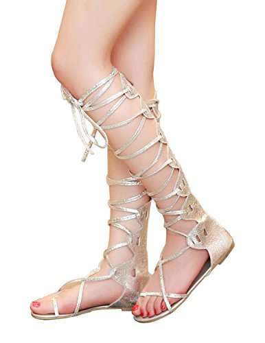 Women's Comfy Lace up Flat Knee High Gladiator Sandals Shoes Gold Color (US 8)