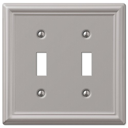 Amerelle Chelsea Double Toggle Steel Wallplate in Brushed Nickel