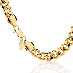 Gold Cuban Link Bracelet 11MM, Round, 24K Overlay Premium Fashion Jewelry, Resists Tarnishing, GUARANTEED FOR LIFE, Long, 9 Inches