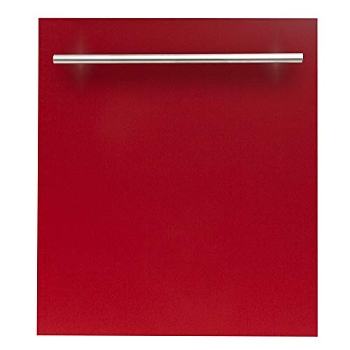 24 in. Top Control Dishwasher in Red Matte with Stainless Steel Tub and Modern Style Handle