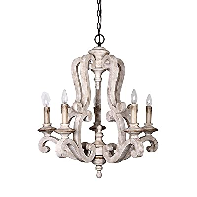 Parrot Uncle Antique-Style Wooden Candle Chandelier, Rustic Chandelier, White Finish