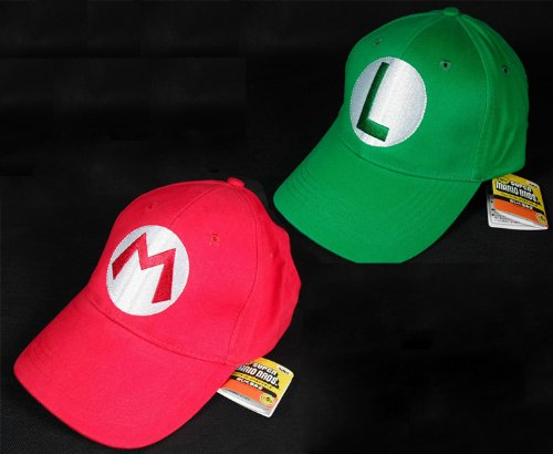 2PCS Super Mario Bros Luigi ADULT Hat Cap Costume cosplay Halloween hat baseball cap
