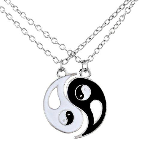MJartoria Black and White Enameled Split Disc Taoism Yin Yang Pendant Best Friend Necklace Set of 2 (Style 2) (Best Friends Split Pendant)