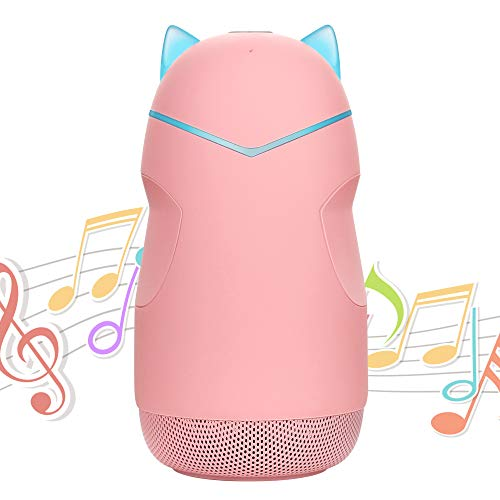 Small Speaker Kids, Cute Portable Wireless Bluetooth Speakers Mini Little Pocket Speakers with LED Night Light Built-in Mic TF Card for Children Boy Girl Home Outdoor Travel (Pink)