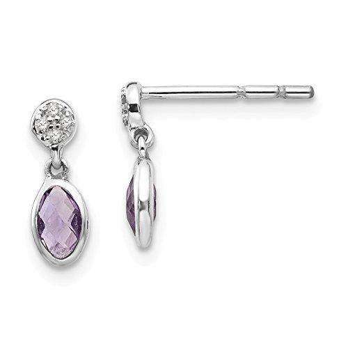 Purple Amethyst Diamond Post Stud Earrings Drop Dangle Fine Jewelry For Women Gift Set ()