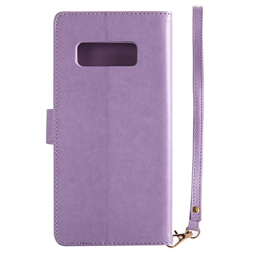 Samsung Galaxy Note 8 2017 Funda, CaseFirst Flip Billetera Cover Protección Soporte Anti-arañazos Protector a prueba de golpes Shell con función de soporte y ranuras (Púrpura) Púrpura
