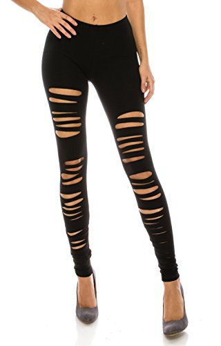 CNC Style Women Full Length Cut Out Rip Distressed Elastic Pull on Stretch Stretch Yoga Leggings Tights S to Plus (Small, Black)