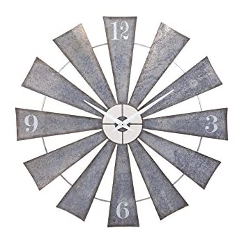 IMAX  Ward Metal Windmill Wall Clock, Gray - Metal wall art