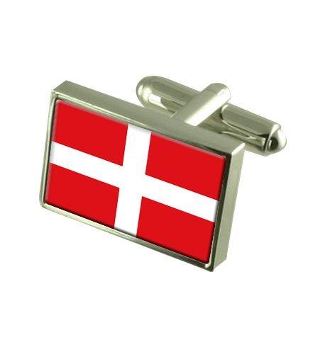 Ordre souverain militaire de Malte Boutons de manchette drapeau avec boîte de souvenir gravé