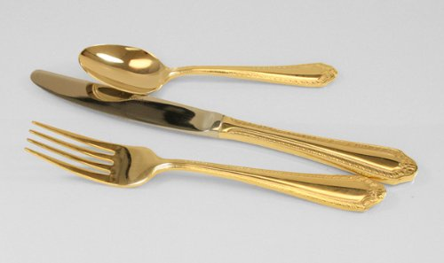 Fiori Pattern Gold-Plated Euro Salad/Desert Fork, 12 each/box by Barenthal (Image #1)