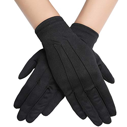 BABEYOND Short Satin Gloves Opera Wedding Gloves Special Occasion Gloves Wrist Length Gloves for Party Costume (Black) -