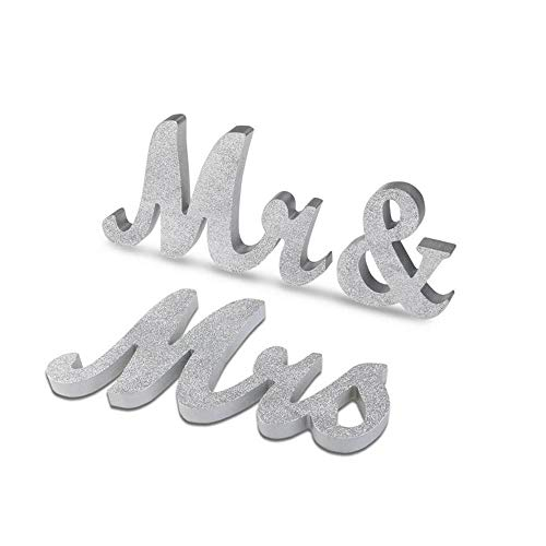 Marsheepy Mr and Mrs Signs Wedding Sweetheart Table Decorations, Wooden Freestanding Letters Wedding Shower Gift (Silver) (Mrs Mr And Banner Silver)