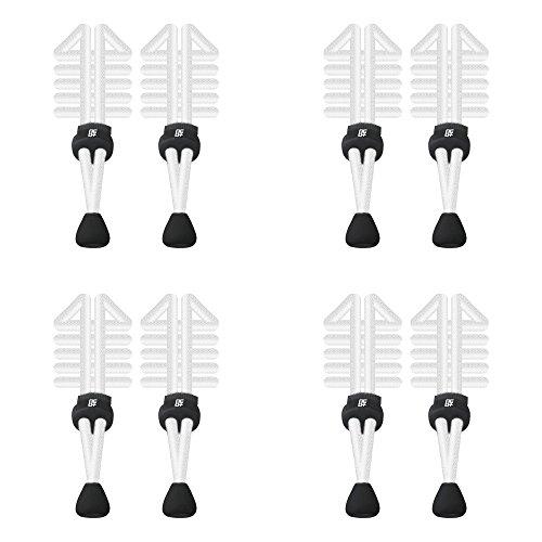 Elastische Schnürsenkel mit Schnellverschluss, rund, für Laufen/Triathlon 4 Sets White