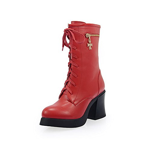 Allhqfashion Women's PU Soft Materials Round Closed Toe Mid-top High-Heels Boots Red 6BWa9pr