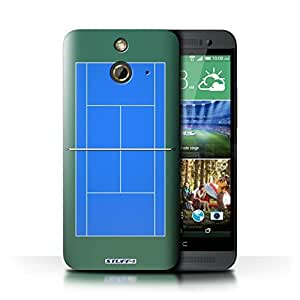 KOBALT? Protective Hard Back Phone Case / Cover for HTC One/1 E8 | Blue Hard Court Design | Tennis Courts Collection