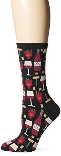(Hot Sox Women's Originals Classics Novelty Crew Socks, Wine (Black), Shoe Size: 4-10)