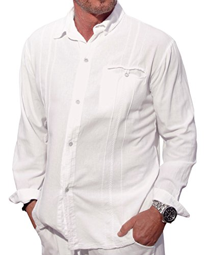 Men Comfortable Cotton Shirt (M&B USA Cotton White Long-Sleeve Button Loop Closure Pocket Organic Embroidered Button Down Shirt (Large, White))