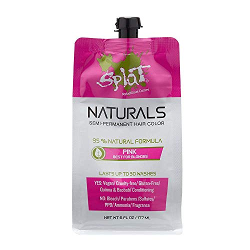 Splat Naturals, Semi-Permanent Pink Hair Dye : 100% Vegan, Cruelty-Free, No Bleach Required, Free of Ammonia, PPD, Parabens & Sulfates - 6 Oz (Best Semi Permanent Pink Hair Dye)