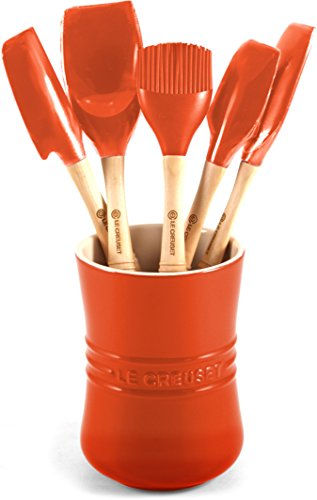 Le Creuset Wood Spatula - Le Creuset Revolution 6-Piece Silicone Kitchen Set, Flame