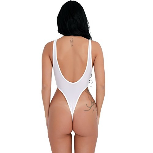 YiZYiF Women s See Through Unlined Thongs High Cut Bodysuit Swimsuit Mesh  Leotard Top White   Bodysuits   Clothing 924af4ca5