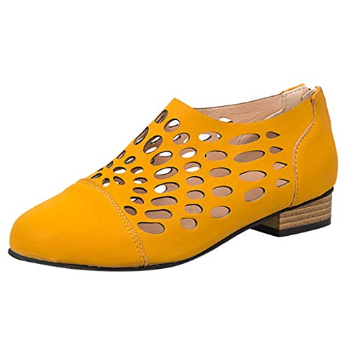 Respctful✿Women's Ankle Slip On Loafer Cut Out Zipper Chunky Heels Short Boots for Women Low Heel Closed Point Toe Shoes Yellow -