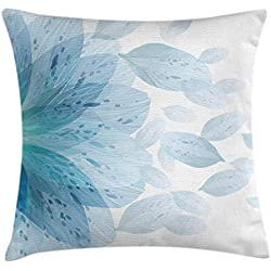 Ambesonne Floral Throw Pillow Cushion Cover by, Round Pattern of Blue Flower Petals Spring Season Nature Theme Artwork, Decorative Square Accent Pillow Case, 16 X 16 Inches, Light Blue and White