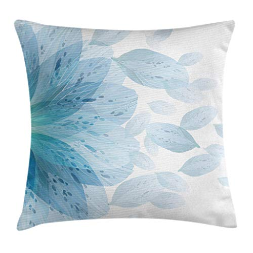 (Ambesonne Floral Throw Pillow Cushion Cover by, Round Pattern of Blue Flower Petals Spring Season Nature Theme Artwork, Decorative Square Accent Pillow Case, 18 X 18 Inches, Light Blue and White)