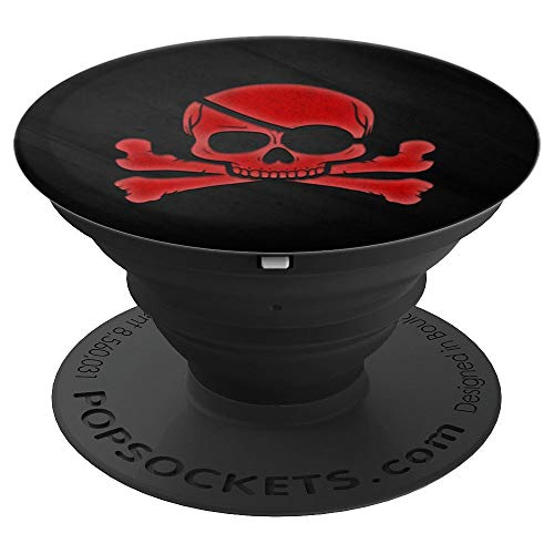 Red Pirate Skull Crossbones On Black - PopSockets Grip and Stand for Phones and Tablets