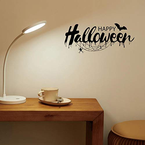 BIBITIME Happy Halloween Wall Decal Quotes Sayings Bat Spider Cobweb Vinyl Sticker for Living Room Porch Front Door Nursery Bedroom Shop Store Window Sticker All Saints' Day PVC Decorations ()