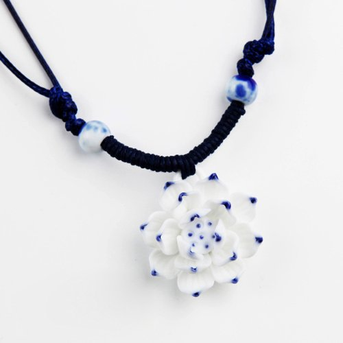 (Libaraba Handmade Blue and White Porcelain Adjustable Necklace,Ceramic Lotus Flower)