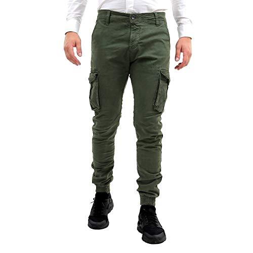 50 44 Casual 52 Sportivo Elastico Tasche Aderente Militari 46 Verde Con Pantaloni Alle Cargo Caviglie Pantalone 48 Militare Uomo Invernali Invernale Tasconi Fit Slim Laterali 42 wxp4q1US4