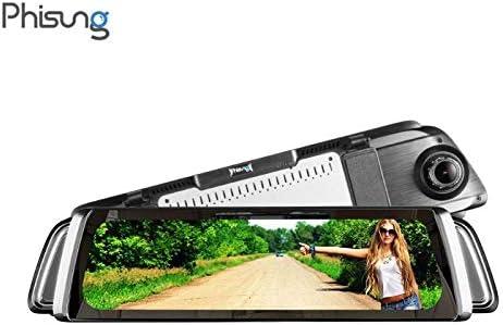 "Phisung 9.35/"" 1080P Car Dash Cam Dual Lens Rearview Mirror Camera Night Vision"