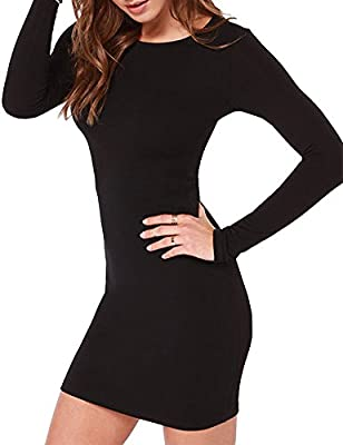 Haola Women's Sexy Casual Long Sleeve Short Dress Mini Dress