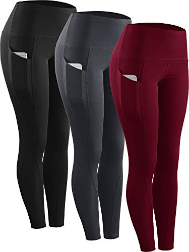 Neleus 3 Pack Tummy Control High Waist Running Workout Leggings,9017,Black,Grey,Red,US L,EU XL