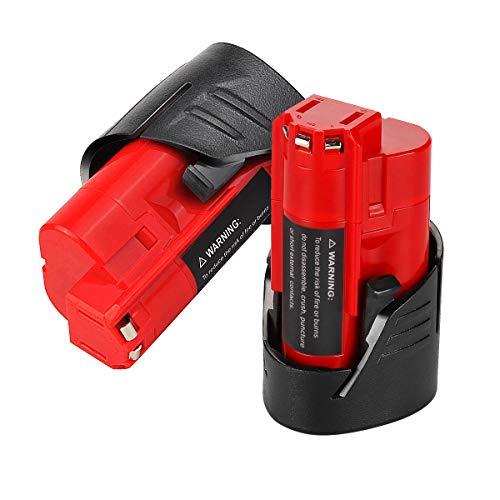 VANON 2.5Ah for Milwaukee M12 Battery, 12V Lithium-ion Cordless Tool Battery for Milwaukee 48-11-2401 48-11-2402 48-59-1812 48-11-2411 48-11-2420 48-59-1812 2510-20 48-59-2401 (2 Pack) ()